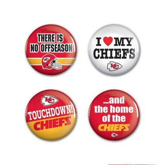 4 Bottons Pins Kansas City Chiefs NFL