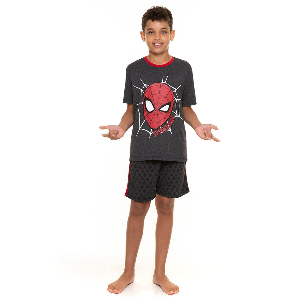 Pijama Curto Juvenil Evanilda Spider-Man Marvel Masculino