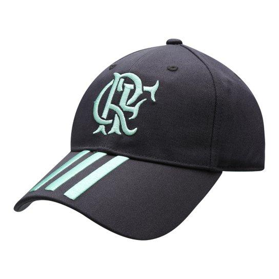 Boné Adidas Flamengo Aba Curva 3S Masculino - Chumbo+Azul Claro 42904fca735