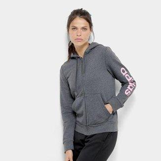 b9f131ebf0a Jaqueta Moletom Adidas Básico E LIN FZ HD Feminina