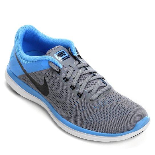 742491b415391 Tênis Nike Flex 2016 RN Feminino - Cinza+Azul Claro ...