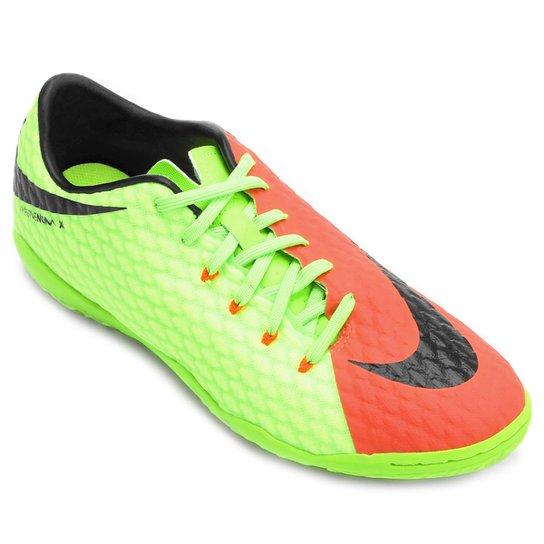 a15afcca76 Chuteira Futsal Nike Hypervenom Phelon 3 IC - Laranja+Verde