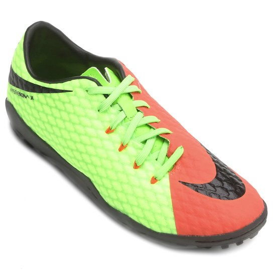 Chuteira Society Nike Hypervenom Phelon 3 TF - Laranja e Verde ... e0a014bd6f90c