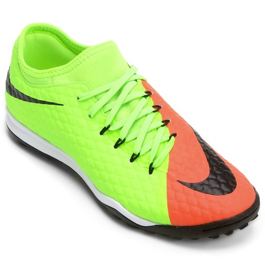9e22dcc24c43b Chuteira Society Nike Hypervenom Finale 2 TF - Verde Claro+Laranja ...