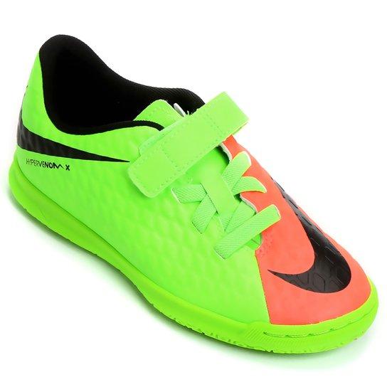 Chuteira Futsal Infantil Nike Hypervenom Phade 3 (V) IC - Verde+laranja 18842a5c0eada