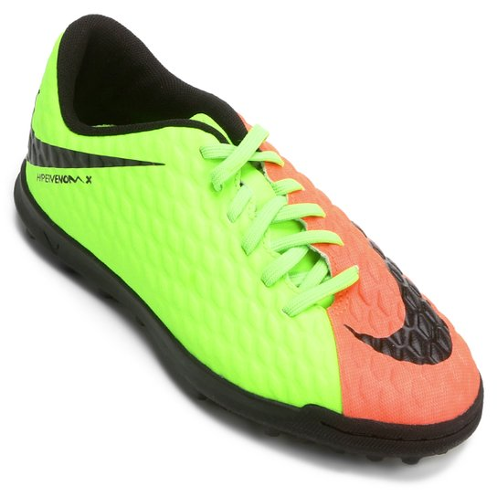 Chuteira Society Infantil Nike Hypervenom Phade 3 TF - Verde Claro+Laranja 17c43aac4b914