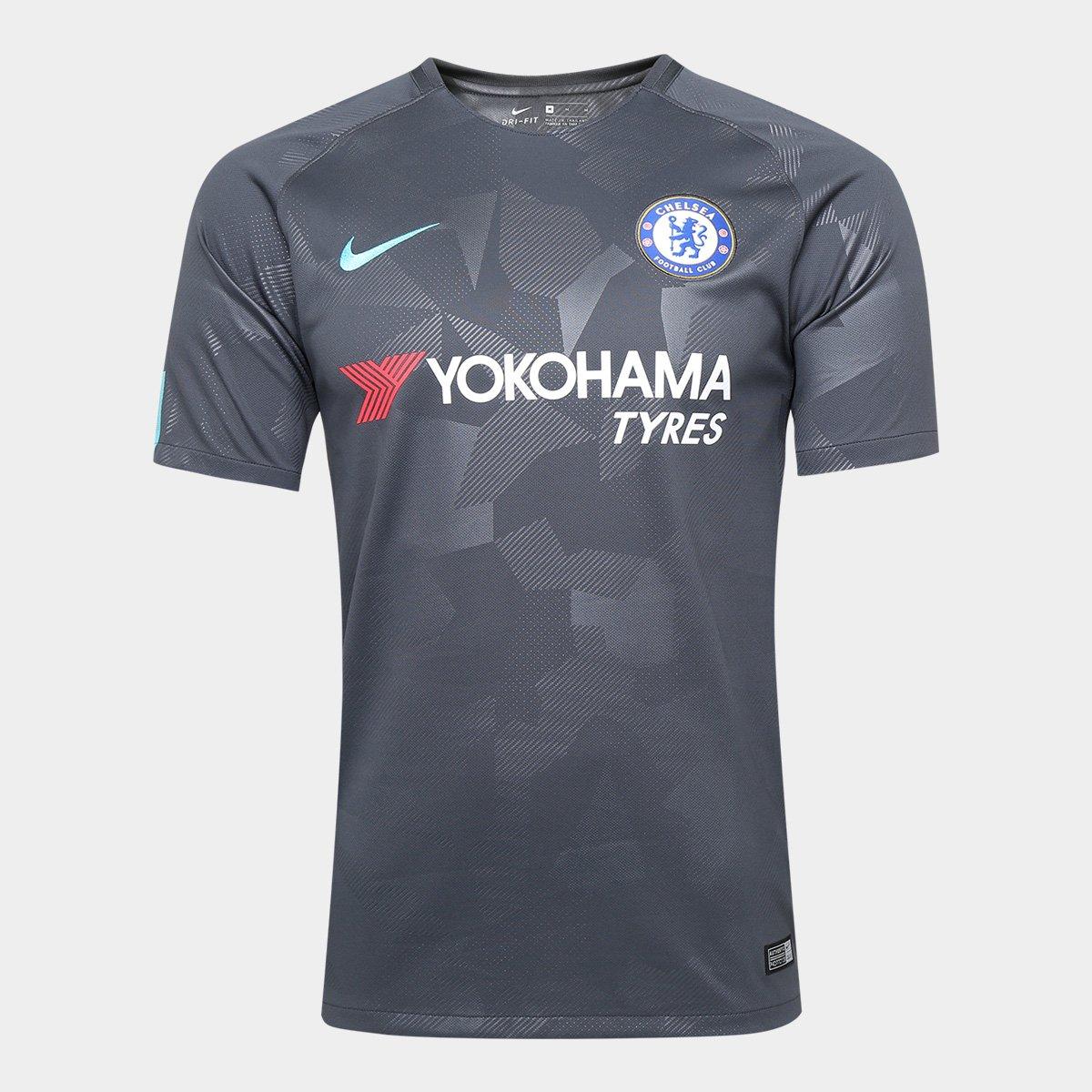 Camisa Chelsea Third 17 18 S N Torcedor Nike Masculina Cinza E Azul Em Promocao No Oferta Esperta