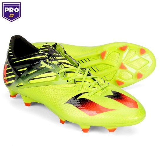 204079f1869 Campo Chuteira Adidas Messi 15.1 FG - Verde Claro+Laranja