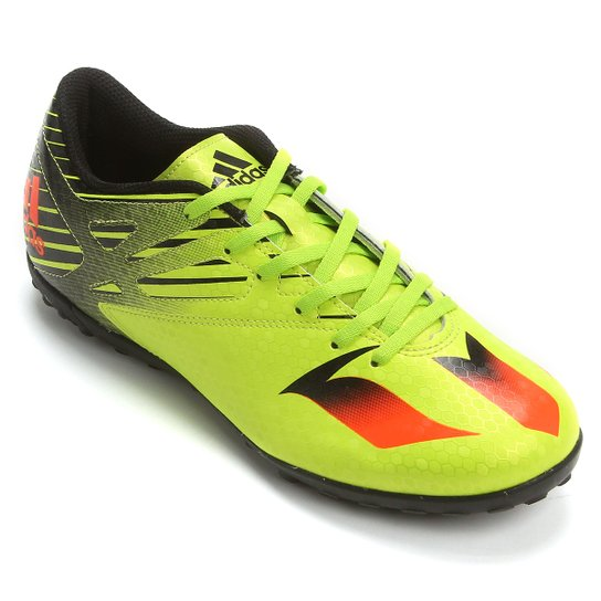 5dab15f107 Chuteira Society Adidas Messi 15.4 TF Masculina - Verde Limão+Laranja