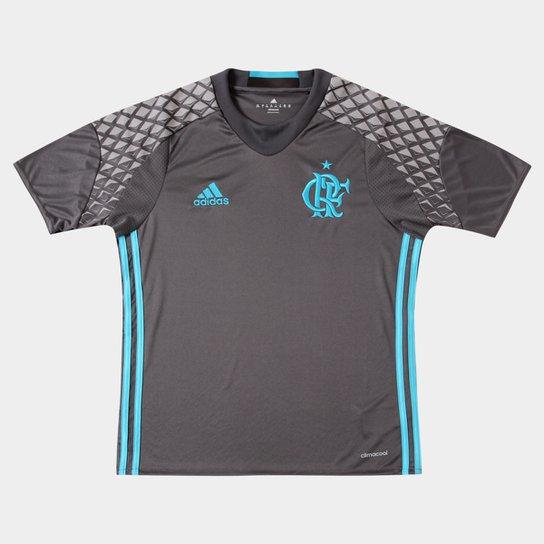 Camisa Flamengo Infantil Goleiro 2016 s nº Torcedor Adidas - Cinza+Azul  Claro 0a671b2256104