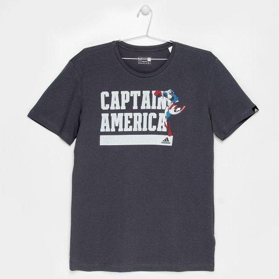 7fe10abb7f3 Camiseta Adidas Capitão America Infantil - Chumbo - Compre Agora ...
