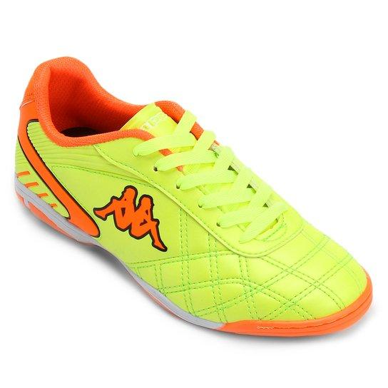 Chuteira Futsal Kappa Bari Masculina - Verde Limão+Laranja 85242f1cbe44c