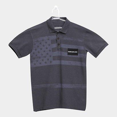 Camisa Polo Infantil Calvin Klein Bandeira Masculina