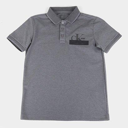 Camisa Polo Infantil Calvin Klein Logo Estilizado Masculina