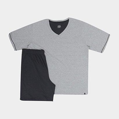 Pijama Curto Lupo Básico Gola V Masculino