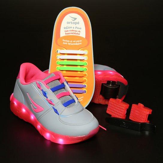 3edf00a9d Tênis Ortopé Estica E Puxa De Rodinha Led Infantil - Cinza+Pink
