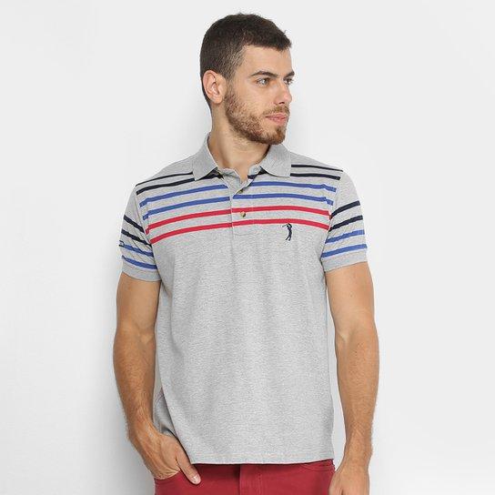 Camisa Polo Aleatory Fio Tinto Listrada Masculina - Cinza e Azul ... 6eb9cd49967f2