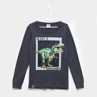 Camiseta Infantil Brandili Dinossauros Manga Longa Masculina