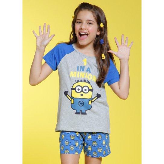 0fa94e5dcf7dc1 Pijama Infantil Puket Curto Minions Feminina - Cinza e Azul