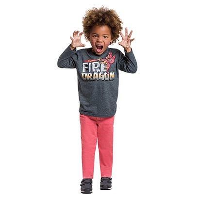 Camiseta Infantil Kyly Manga Longa Estampa Dragão Masculina