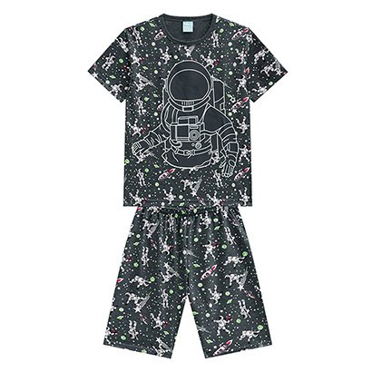 Pijama Infantil Curto Kyly Astronauta Brilha No Escuro Masculino