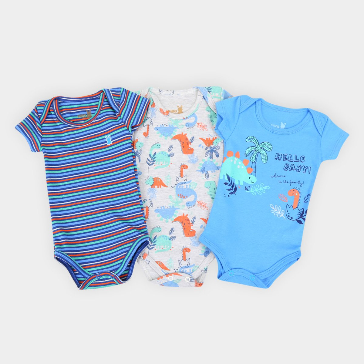 Kit Body Bebê Kiko & Kika Suedine Estampado Masculino 3 Peças