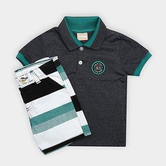 9546e2664b92f Conjunto de Camisa Polo + Bermuda Infantil Milon Masculino