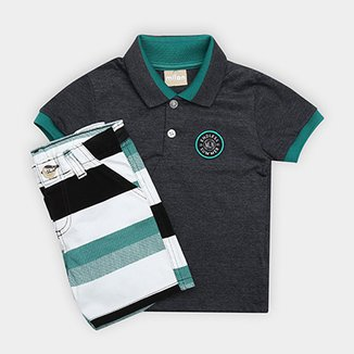 d027a63b66c07 Conjunto de Camisa Polo + Bermuda Infantil Milon Masculino