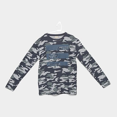 Camiseta Infantil Milon Manga Longa Camuflado Masculina