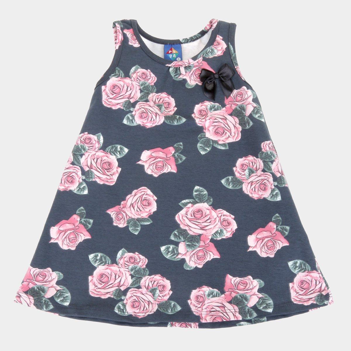 Vestido Infantil Pipa Curto Floral Com Lacinho