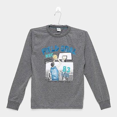 Camiseta Infantil Elian Manga Longa Basquete