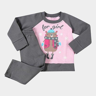 Conjunto Infantil For Girl Moletom Urso Na Neve Feminino
