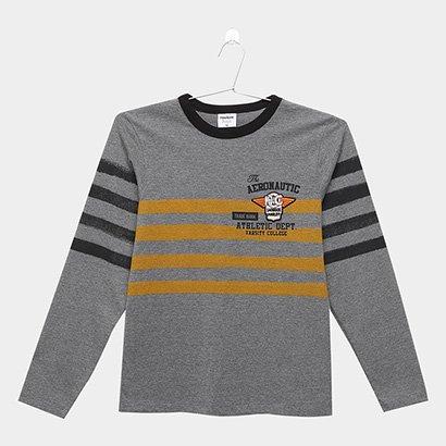 Camiseta Infantil Rovitex Listras Manga Longa Masculina