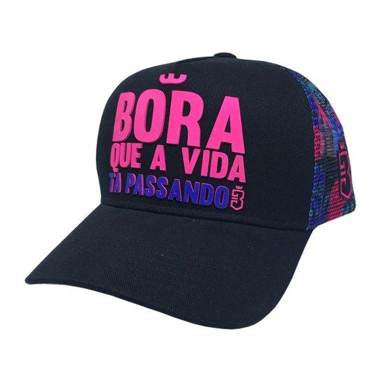 Boné Trucker Bora Floral - Pink e Roxo - Compre Agora  4b33d945bef