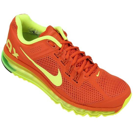 98d10d3b8f6 Tênis Nike Air Max+ 2013 Masculino - Verde Limão+Laranja