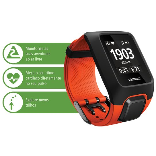 1292473f1 Relógio GPS c/ Monitor Cardíaco no Pulso Tomtom Adventurer - Preto+Laranja