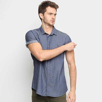 Camisa Jeans Reserva Manga Curta Masculina