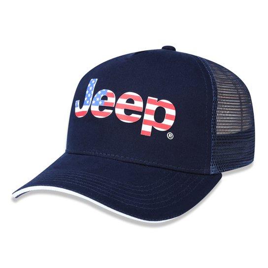 232b134ab42c9 Boné Jeep Trucker Bandeira US Aba Curva - Azul Escuro - Compre Agora ...
