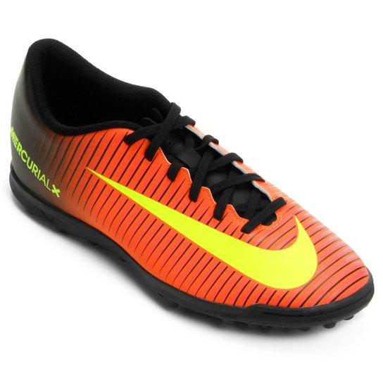 Chuteira Society Nike Mercurial Vortex 3 TF Masculina - Laranja e ... d6c4c4e4aa2d2