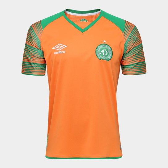 609fd4067e9f3 Camisa Chapecoense Goleiro 17 18 nº 1 Torcedor Umbro Masculina -  Laranja+Verde