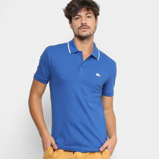 Camisa Polo Lacoste Slim Fit Algodão Pima Elastano Masculina - Azul Escuro 05c906a829