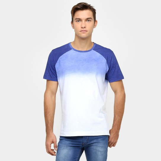 1e6fc98f561985 Camiseta Calvin Klein Raglan Jateado Degradê - Azul e Branco