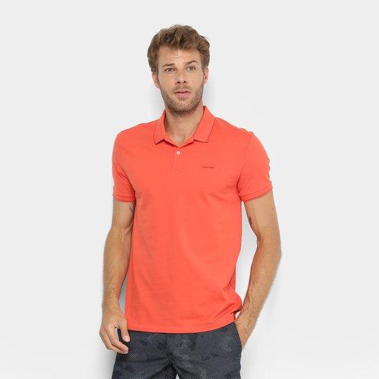 19f5e06a2d Camisa Polo Calvin Klein Slim Masculina - Laranja - Compre Agora ...