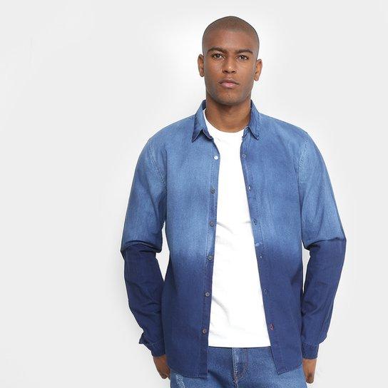 d42a82f051873c Camisa Jeans Calvin Klein Degrade Masculina - Azul Escuro