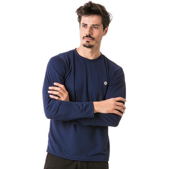 9d3cb348c6 Camiseta com Proteção Solar Manga Longa Extreme UV Dry - Azul Escuro ...