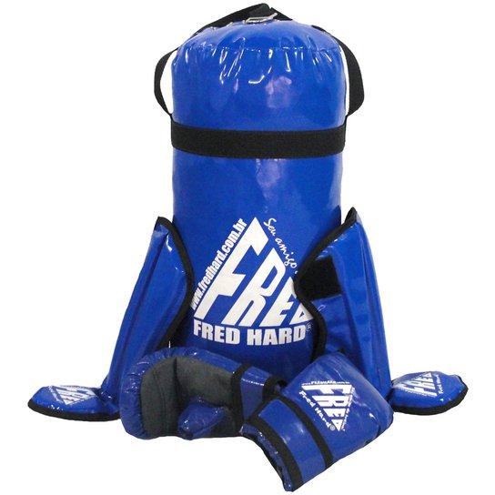 ee7e6b7c5 Kit Boxe e Muay Thai infantil Fred Hard - Saco + C - Azul Escuro ...