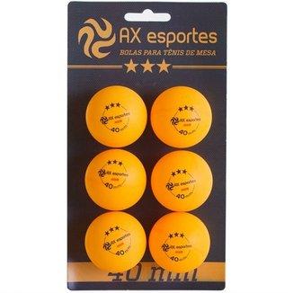 Bola de Tênis de Mesa Oficial 3 Estrelas AX Esportes com 6 - FA491 0b15c66d72cac