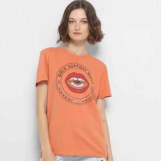 81e08f73bdcd7 Camiseta Estampada Girls Support Colcci Feminina