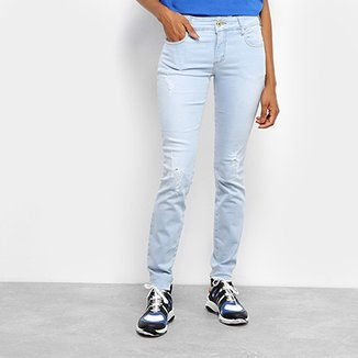 fa0e36824b Calça Jeans Skinny Colcci Fátima Destroyed Cintura Média Feminina
