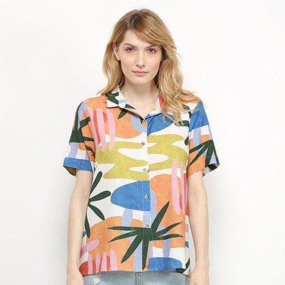 Camisa Manga Curta Cantão Viscolinho Estampa Polaris Feminina